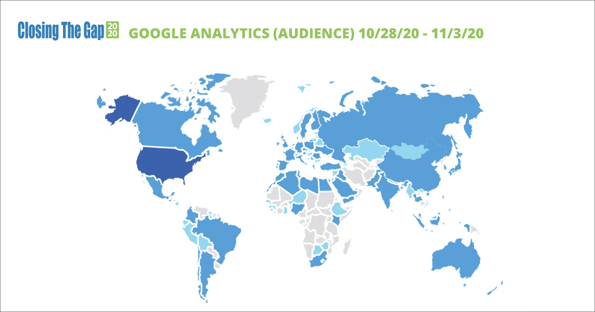 World Map Indicating Audience from Google Analytics