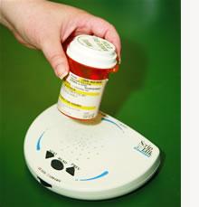 Picture of prescription bottle on ScripTalk machine