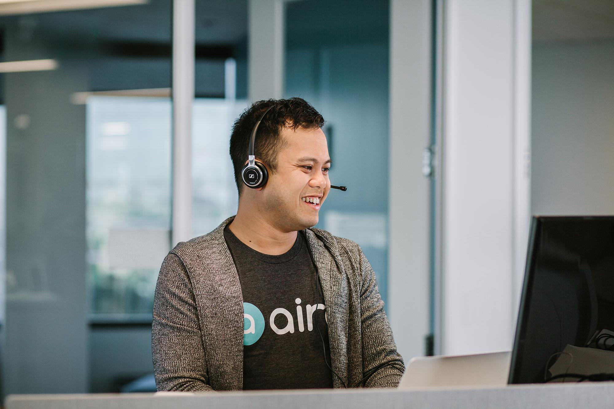 A Aira male person talking through headset