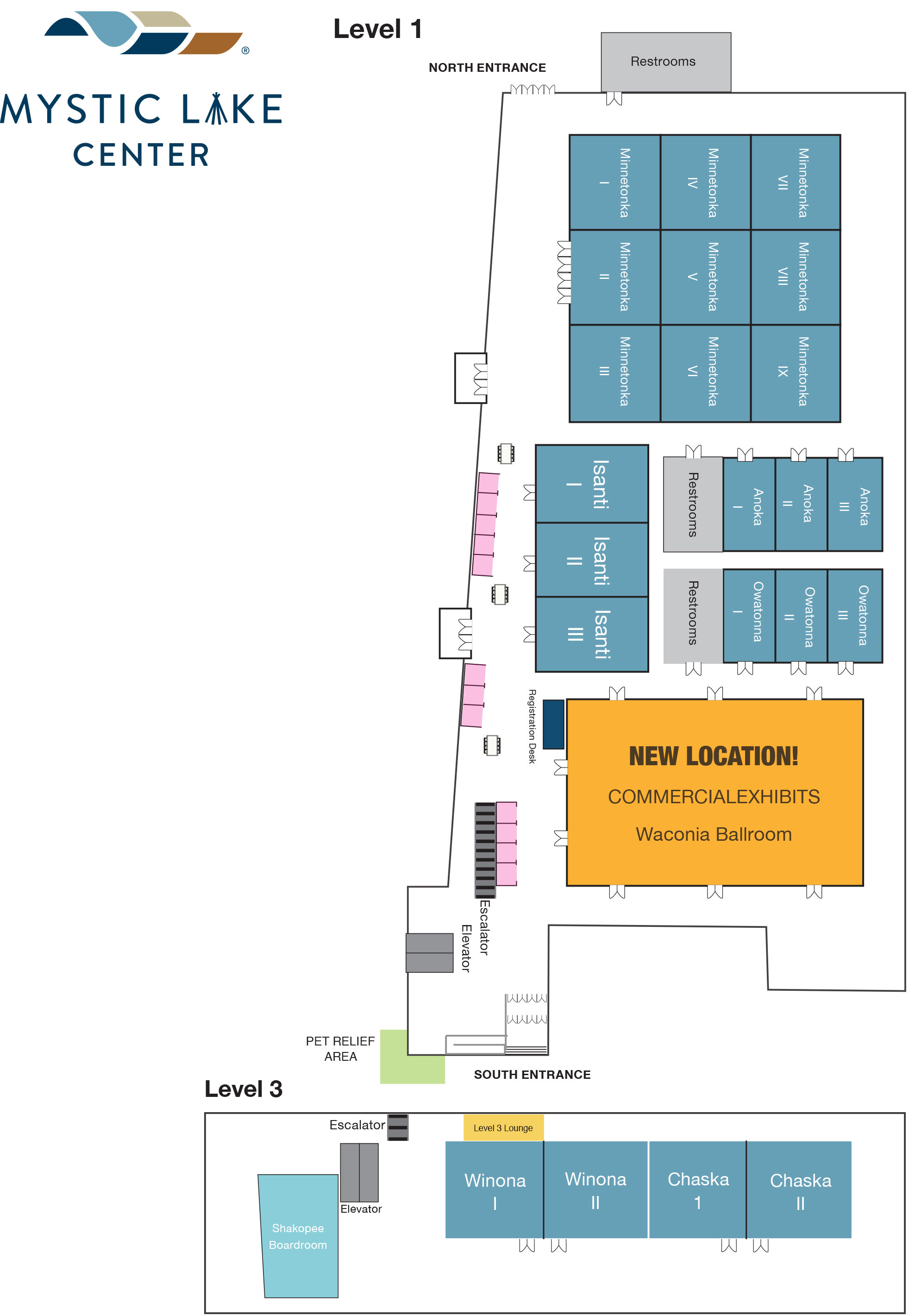 Map of Mystic Lake Center, identifying the new location of exhibits - Waconia Ballroom