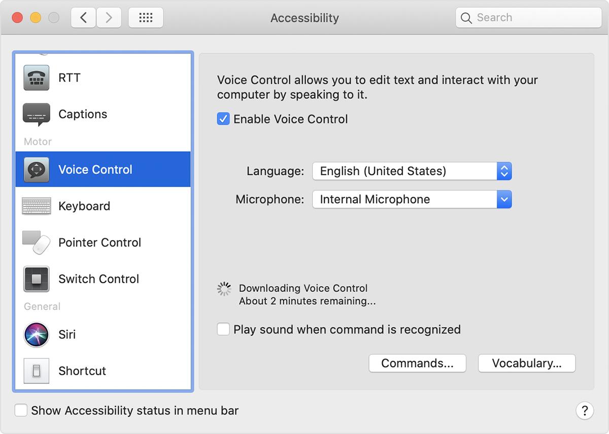 Voice Control preferences