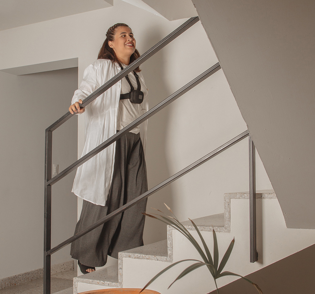Stair Detection. A blind woman walking upstairs.