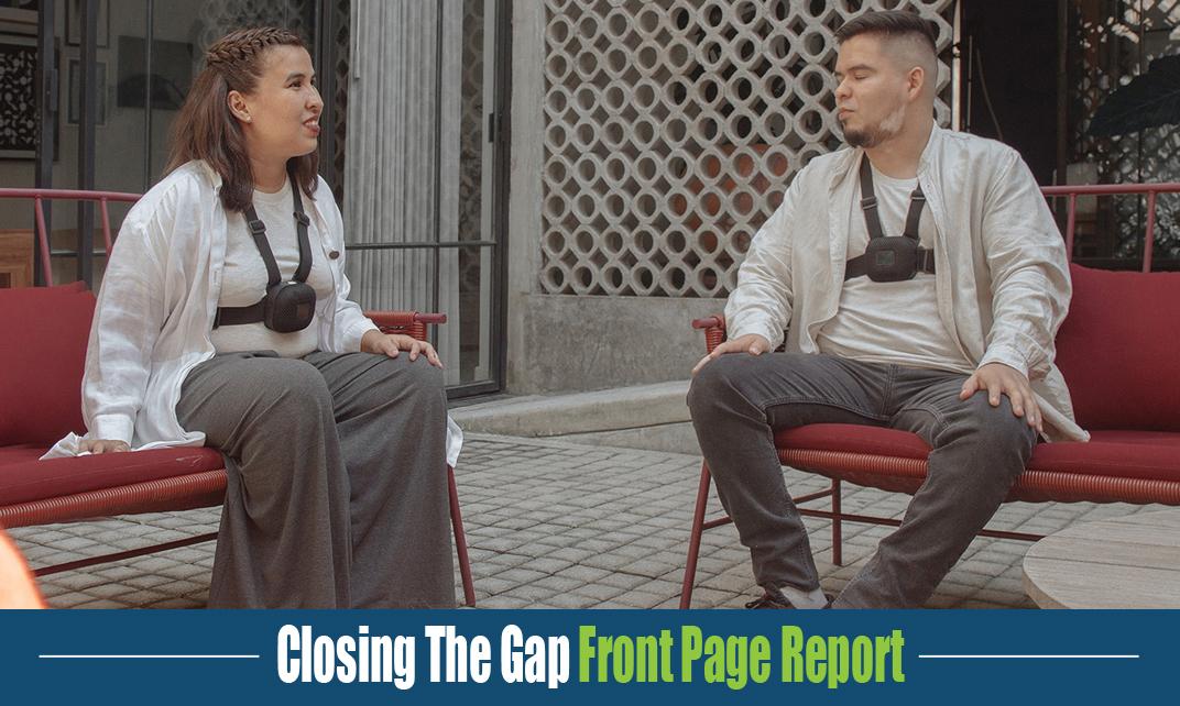 2 people sitting outside wearing Strap