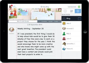 screenshot of student blog.