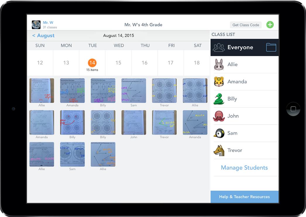 Screenshot of student data.