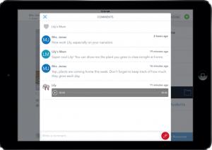 Screenshot of parent feedback