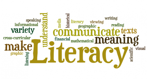 Infographic depicting several words all related to LITERACY